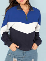 Patchwork Stand Collar Zipper Pullover Hoodie