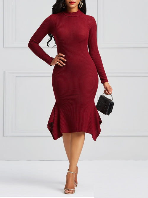 Women's Pure Color Irregular Bodycon Dress