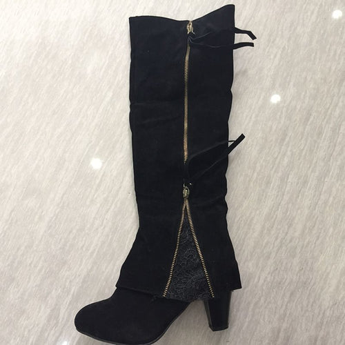 Rubber Suede Side Zipper Round Toe Knee-high Boots
