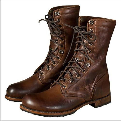 Rubber Glueing Round Toe Lace-Up Front Men's Boots