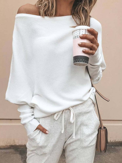 Slash Neck Drop Shoulder Knitwear