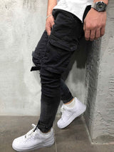 Straight Pocket Mid-Waist European Casual Pants
