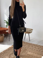 Turtleneck Mid-Calf Nine Points Sleeve Pullover Casual Dress