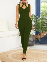 Plain Full Length Backless High Waist Pencil Pants Jumpsuit