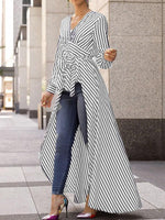Stripe Patchwork V-Neck Long Sleeve Long Blouse