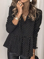 V-Neck Print Regular Long Sleeve Standard Blouse