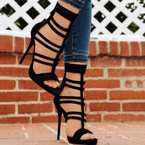 Open Toe Heel Covering Zipper Stiletto Heel High-Cut Upper Hollow Sandals