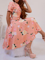 Short Sleeve Print Knee-Length Pullover Floral Dress
