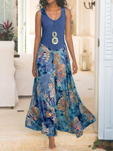 Ankle-Length Print Round Neck A-Line Plant Dress