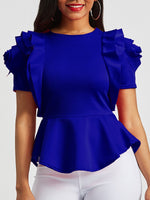 Falbala Round Neck Plain Standard Short Sleeve Blouse