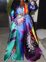Print Floor-Length Lapel Expansion High Waist Dress