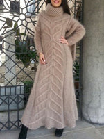 Turtleneck Long Sleeve Ankle-Length Vintage Winter Dress