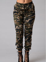 Camouflage Hole Pencil Pants Mid Waist Skinny Jeans