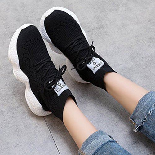 High-Cut Upper Lace-Up Round Toe Casual Mesh Sneakers