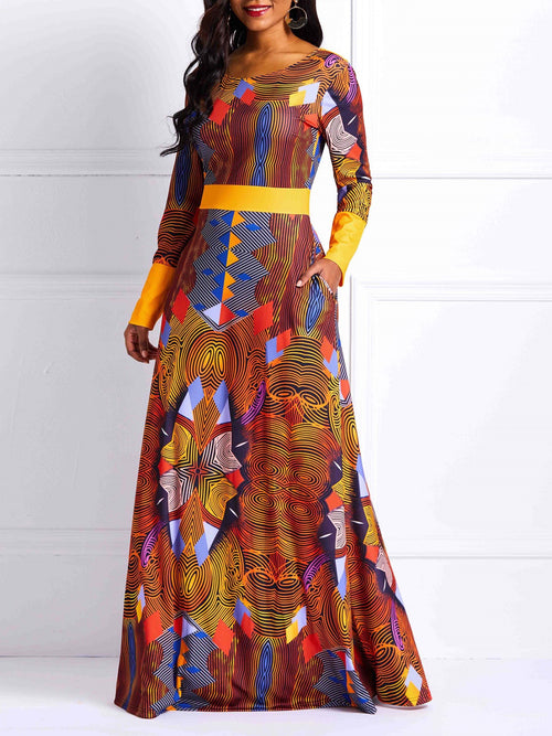 Round Neck Floor-Length Print Expansion Pullover Dresses
