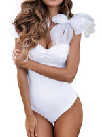 One Piece Plain Bowknot Swimwear