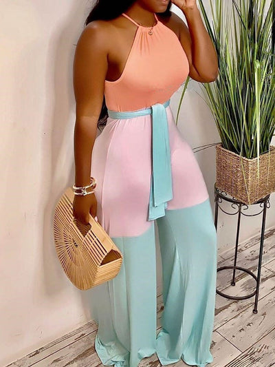 Fashion Full Length Color Block High Waist Loose Jumpsuit
