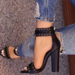 Chunky Heel Open Toe Zipper Heel Covering Plain Woven Sandals
