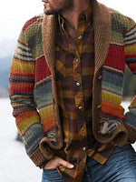 Color Block Button Standard Single-Breasted Fall Sweater