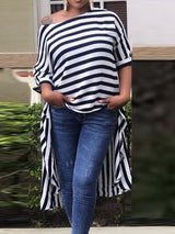 Asymmetric Stripe Long Half Sleeve Blouse
