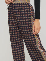 Loose Print Floral Mid-Calf Casual Pants
