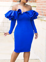 Long Sleeve Knee-Length Bodycon Fashion Dress