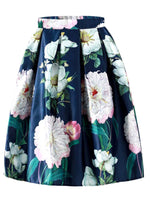 Floral Mid-Calf Pleated Skirt