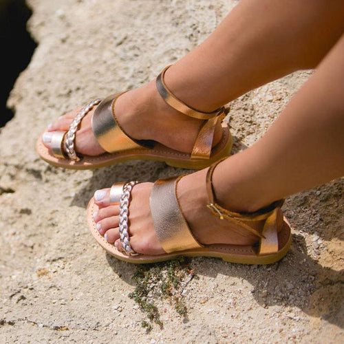 Open Toe Buckle Block Heel Ankle Strap Casual Woven Sandals