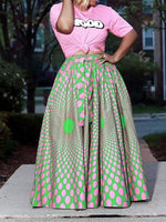 Print Color Block Expansion Western Skirt