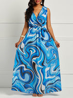 V-Neck Floor-Length Print Expansion Pullover Dress