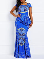 Cap Sleeve Falbala Floor-Length Mermaid Casual Dress