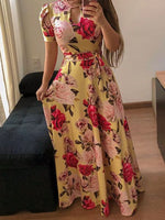 Print Floor-Length Turtleneck Mid Waist Summer Dress