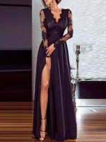 Lace Floor-Length V-Neck Spring Pullover Dress