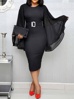 Mid-Calf Patchwork Long Sleeve Plain Pullover Dress(Not include belt)