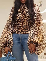 Lantern Sleeve Leopard Long Sleeve Standard Blouse
