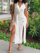 Three-Quarter Sleeve Above Knee Button Summer High Waist Dress