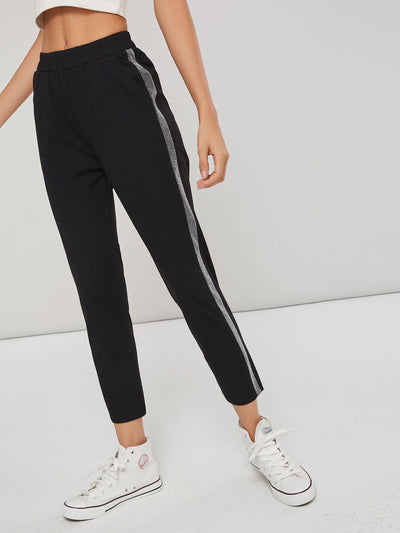 Patchwork Slim Stripe Pencil Pants Ankle Length Casual Pants