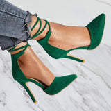 Pointed Toe Slip-On Cross Strap Stiletto Heel 11cm Plain Thin Shoes