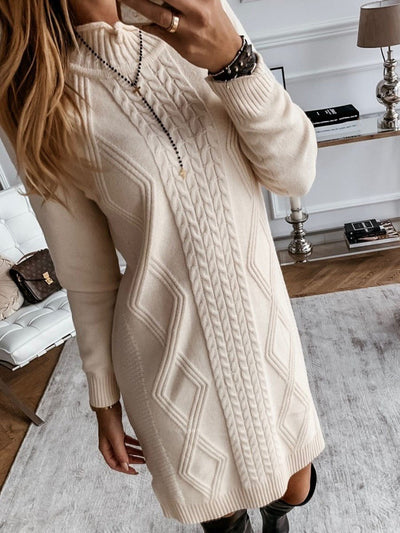 Stand Collar Long Sleeve Above Knee Plain Pullover Dress