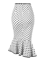 Mermaid Mid-Calf Polka Dots Vintage Skirt