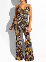 Color Block Full Length Sexy Bellbottoms High Waist Jumpsuit