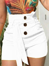Plain Button Button High Waist Shorts