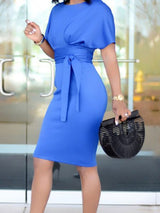 Lace-Up Knee-Length Round Neck Pullover High Waist Dress
