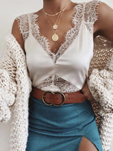 Summer Polyester Lace Standard Tank Top