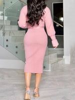 Mid-Calf Turtleneck Long Sleeve Bodycon Plain Dress