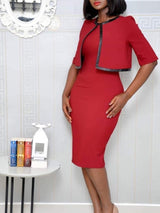 Round Neck Knee-Length Half Sleeve Pullover Bodycon Dress