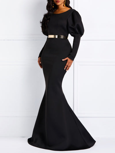 Patchwork Floor-Length Long Sleeve Plain Standard-Waist Dress