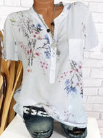 Pocket Floral Mid-Length Short Sleeve Blouse