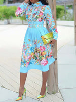 Lapel Button Mid-Calf Pleated Floral Dress