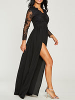Long Sleeve Patchwork Floor-Length Regular Fall Dress